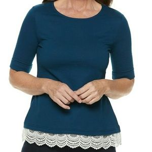 Croft & Barrow - Blue Lace-Hem French Terry Top